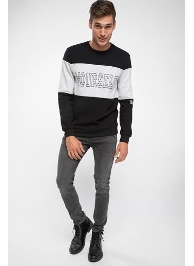 DeFacto Renk Bloklu Slogan Baskılı Sweatshirt Siyah